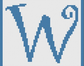 Letter W, Swirly Afghan, C2C Crochet Pattern, Written Row by Row, Color Counts, Instant Download, C2C Graph, C2C Pattern, C2C Crochet