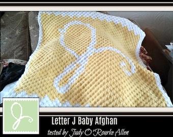 Letter J Baby Afghan, C2C Crochet Pattern, Written Row Counts, C2C Graphs, Corner to Corner, Crochet Pattern, C2C Graph