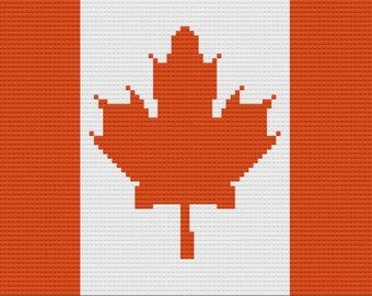 Canadian Flag Afghan, C2C Crochet Pattern, Written Row Counts, C2C Graphs, Corner to Corner, Crochet Pattern, C2C Graph
