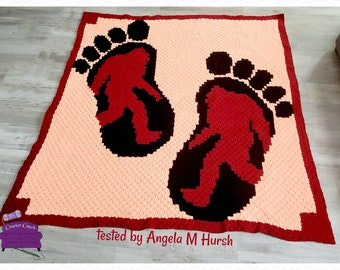 Bigfoot Afghan, C2C Crochet Pattern, Written Row by Row, Color Counts, Instant Download, C2C Graph, C2C Pattern, Graphgan Pattern