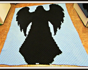Angel Silhouette Afghan, C2C Crochet Pattern, Written Row Counts, C2C Graphs, Corner to Corner, Crochet Pattern, C2C Graph