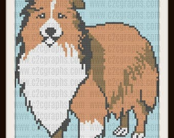 Shetland Sheepdog Afghan, C2C Crochet Pattern, Written Row Counts, C2C Graphs, Corner to Corner, Crochet Pattern, C2C Graph