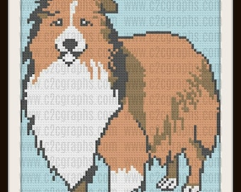 Shetland Sheepdog Crochet Pattern, C2C Graph, Sheltie Afghan, Sheltie C2C Graph