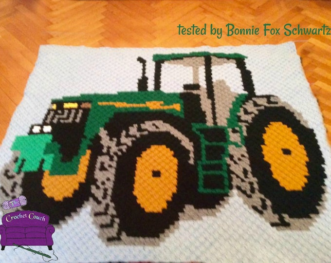 Featured listing image: Tractor Afghan, C2C Crochet Pattern, Written Row Counts, C2C Graphs, Corner to Corner, Crochet Pattern, C2C Graph