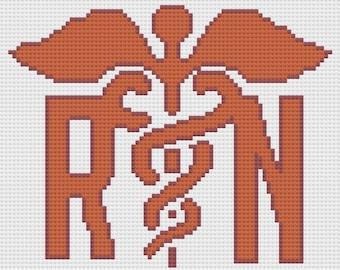 Nurse RN Afghan, C2C Crochet Pattern, Written Row by Row, Color Counts, Instant Download, C2C Graph, C2C Pattern, Corner to Corner, Graphgan
