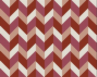 Chevron Shaded Afghan C2C Crochet Pattern, Written Row by Row Counts, C2C Graphs, Corner to Corner Crochet Pattern, Graphgan, Chevron C2C