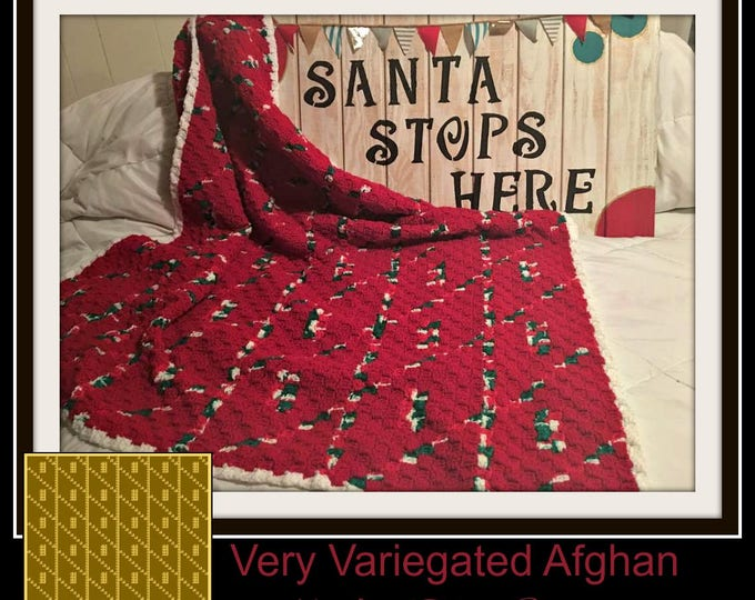 Featured listing image: Very Variegated Afghan, C2C Graph w/Word Chart