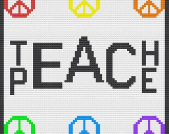 Teach Peace Afghan, C2C Crochet Pattern, Written Row by Row, Color Counts, Instant Download, C2C Graph, C2C Pattern, Graphgan Pattern