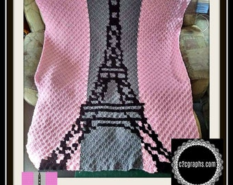 Eiffel Tower Afghan, C2C Crochet Pattern, Written Row Counts, C2C Graphs, Corner to Corner, Crochet Pattern, C2C Graph