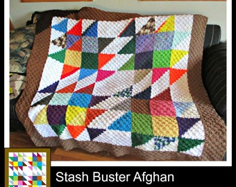 Stash Buster Quilt Afghan, C2C Crochet Pattern, Written Row Counts, C2C Graphs, Corner to Corner, Crochet Pattern, C2C Graph