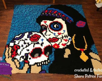 Sugar Skull Pin Up Afghan, C2C Crochet Pattern, Written Row Counts, C2C Graphs, Corner to Corner, Crochet Pattern, C2C Graph