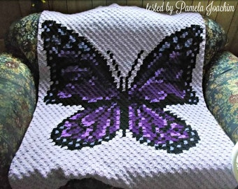 Butterfly Afghan, C2C Crochet Pattern, Written Row Counts, C2C Graphs, Corner to Corner, Crochet Pattern, C2C Graph