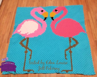 Flamingo Friends Afghan, C2C Crochet Pattern, Written Row by Row, Color Counts, Instant Download, C2C Graph, C2C Pattern, Graphgan Pattern