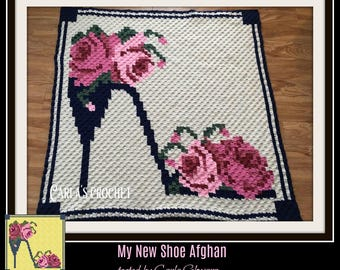 My New Shoe Afghan, C2C Crochet Pattern, Written Row Counts, C2C Graphs, Corner to Corner, Crochet Pattern, C2C Graph