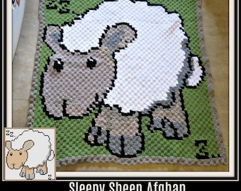 Sleepy Sheep Afghan, C2C Crochet Pattern, Written Row Counts, C2C Graphs, Corner to Corner, Crochet Pattern, C2C Graph