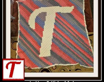 Letter T Kids Afghan, C2C Crochet Pattern, Written Row Counts, C2C Graphs, Corner to Corner, Crochet Pattern, C2C Graph