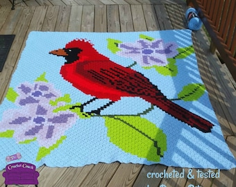 Cardinal on Flower Afghan, C2C Crochet Pattern, Written Row by Row, Color Counts, Instant Download, C2C Graph, C2C Pattern, Corner to Corner
