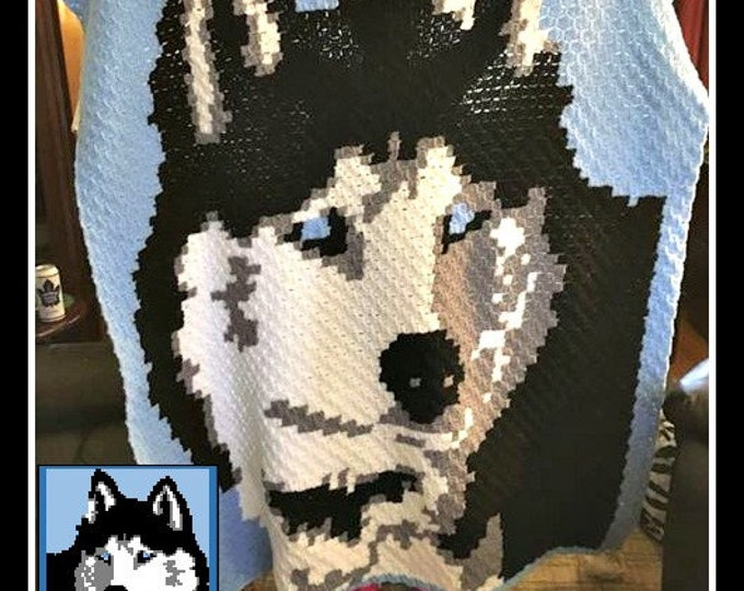 Featured listing image: Siberian Husky Afghan, C2C Crochet Pattern, Written Row Counts, C2C Graphs, Corner to Corner, Crochet Pattern, C2C Graph