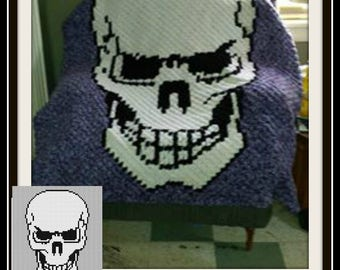 Skull Afghan, C2C Crochet Pattern, Written Row Counts, C2C Graphs, Corner to Corner Crochet Pattern, C2C Graph
