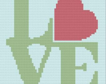 Love Afghan, C2C Crochet Pattern, Written Row by Row, Color Counts, Instant Download, C2C Graph, C2C Pattern, C2C Graphgan Pattern