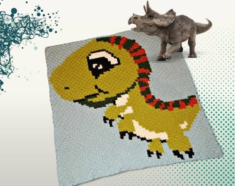 T Rex Blanket, C2C Crochet Pattern, Written Row Counts, C2C Graphs, Corner to Corner, Crochet Pattern, C2C Graph