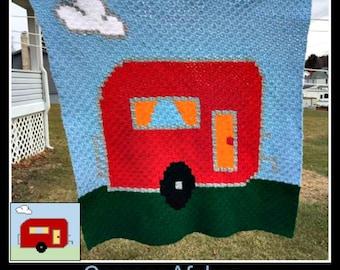 Camper Afghan, C2C Crochet Pattern, Written Row Counts, C2C Graphs, Corner to Corner, Crochet Pattern, C2C Graph