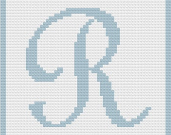 Letter R Baby Afghan, C2C Crochet Pattern, Written Row by Row, Color Counts, Instant Download, C2C Graph, C2C Pattern, Graphgan Pattern