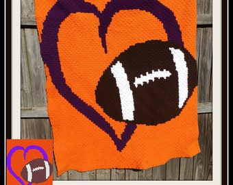 Love Football Afghan, 4 colors, C2C Crochet Pattern, Written Row Counts, C2C Graphs, Corner to Corner, Crochet Pattern, C2C Graph