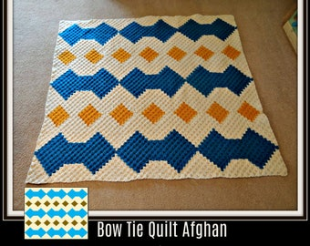 Bow Tie Quilt Afghan, C2C Crochet Pattern, Written Row Counts, C2C Graphs, Corner to Corner, Crochet Pattern, C2C Graph