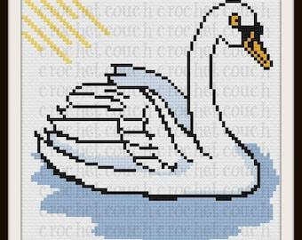 Swan Afghan, C2C Crochet Pattern, Written Row Counts, C2C Graphs, Corner to Corner, Crochet Pattern, C2C Graph