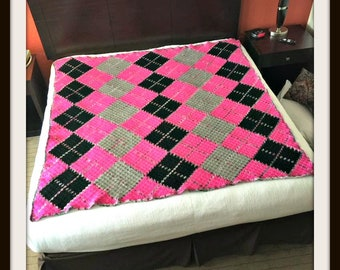 Argyle Afghan 4 Color, C2C Crochet Pattern, Written Row Counts, C2C Graphs, Corner to Corner, Crochet Pattern, C2C Graph