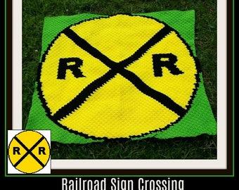 Railroad Crossing Sign Afghan, C2C Graph, Crochet Pattern