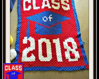 Class of 2018 afghan, C2C Crochet Pattern, Written Row Counts, C2C Graphs, Corner to Corner, Crochet Pattern, C2C Graph