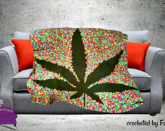 Marijuana Leaf Afghan, Black Background, C2C Crochet Pattern, Written Row Counts, C2C Graphs, Corner to Corner, Crochet Pattern, C2C Graph