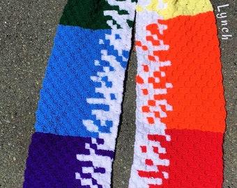 Rainbow Splatter Scarf, C2C Crochet Pattern, Written Row by Row, Color Counts, Instant Download, C2C Graph, C2C Pattern, C2C Crochet,