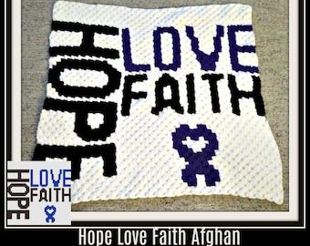 Hope Love Faith C2C Graph, Hope Love Faith Corner to Corner, Crochet Pattern, C2C Graph