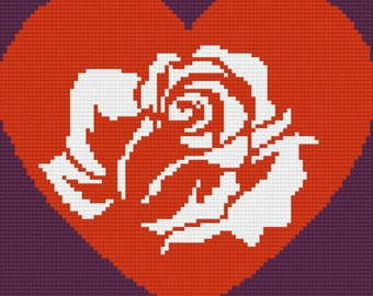 Rose in a Heart Afghan, C2C Crochet Pattern, Written Row Counts, C2C Graphs, Corner to Corner Crochet Pattern, Graphgan, Rose Heart C2C