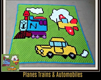 Planes Trains and Automobiles Afghan, C2C Crochet Pattern, Written Row Counts, C2C Graphs, Corner to Corner, Crochet Pattern, C2C Graph