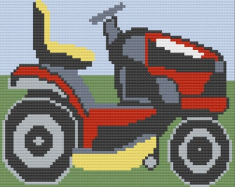 Lawnmower Afghan, C2C Crochet Pattern, Written Row by Row, Color Counts, Instant Download, C2C Graph, C2C Pattern, Graphgan Pattern