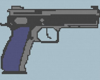 Pistol Afghan, C2C Crochet Pattern, Written Row by Row, Color Counts, Instant Download, C2C Graph, C2C Pattern, Graphgan