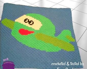 Airplane Kids Afghan, C2C Crochet Pattern, Written Row by Row, Color Counts, Instant Download, C2C Graph, C2C Pattern, C2C Crochet, Graphgan