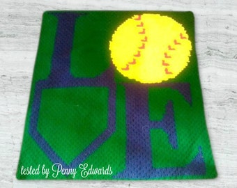 Love Baseball Afghan, C2C Crochet Pattern, Written Row Counts, C2C Graphs, Corner to Corner, Crochet Pattern, C2C Graph