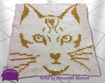 Cat Face Small Afghan, C2C Crochet Pattern, Written Row by Row, Color Counts, Instant Download, C2C Graph, C2C Pattern, Graphgan Pattern