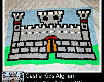 Castle Kids Afghan, C2C Crochet Pattern, Written Row Counts, C2C Graphs, Corner to Corner Crochet Pattern, C2C Graph