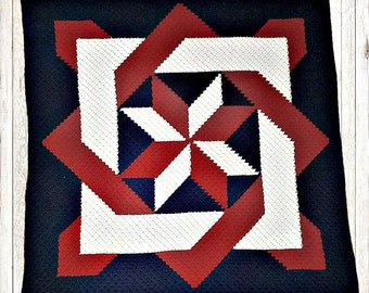 Blocked Star Quilt Blanket, C2C Crochet Pattern, Written Row Counts, C2C Graphs, Corner to Corner, Crochet Pattern, C2C Graph