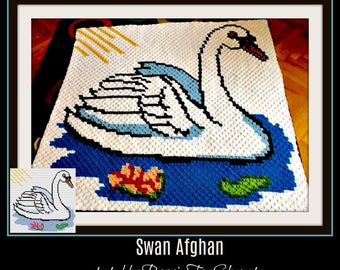 Swan with Water Lily Afghan, C2C Crochet Pattern, Written Row Counts, C2C Graphs, Corner to Corner, Crochet Pattern, C2C Graph