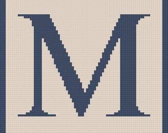 Letter M Twin Afghan C2C Crochet Pattern, Written Row Counts, C2C Graphs, Corner to Corner Crochet Pattern, Graphgan, Letter M C2C Graph