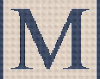 Letter M Twin Blanket, C2C Crochet Pattern, Written Row Counts, C2C Graphs, Corner to Corner, Crochet Pattern, C2C Graph