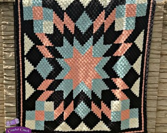 Starburst Quilt Afghan, C2C Crochet Pattern, Written Row by Row, Color Counts, Instant Download, C2C Graph, C2C Pattern, Graphgan Pattern