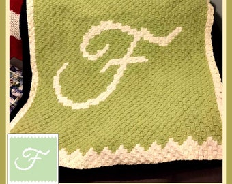 Letter F Baby Afghan, C2C Crochet Pattern, Written Row Counts, C2C Graphs, Corner to Corner, Crochet Pattern, C2C Graph